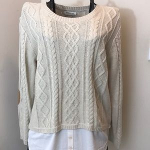 Monteau Tan Sweater Faux Shirt Patch Sleeves